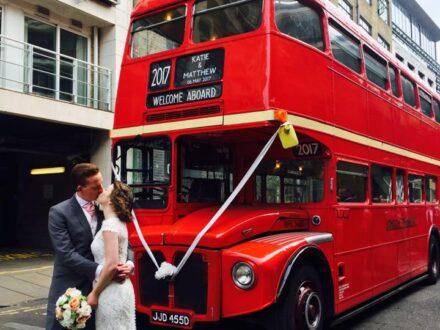 Wedding bus hire with Personalised blind