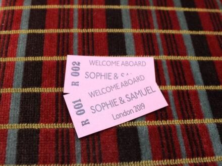 Personalised wedding bus tickets