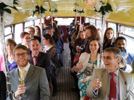 Drinks on board Routemaster wedding