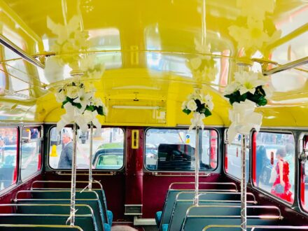 Routemaster interior wedding decoration